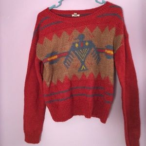 Ecoté Retro Pattern Red Sweater